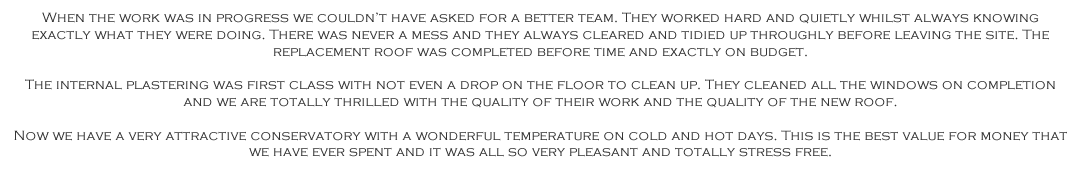 Exe Windows Doors and Conservatories Testimonial
